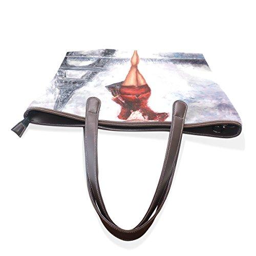COOSUN Pintura al óleo de la mujer París grandes bolsas de cuero de la manija de la PU Bolsa de hombro bolsa de asas M (40x29x9) cm muticolour