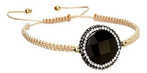 Kevia | Adjustable Wrap Macrame Bracelet | Black Onyx Gemstone | Turkish Pave Set Crystals | Hand Braided Tan ()