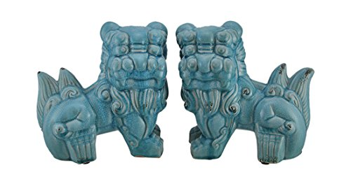 Zeckos Set of 2 Blue Ceramic Vintage Finish Foo Dog Statues - Lion Statues Chinese