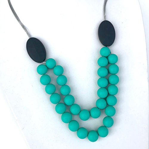 Teething Necklace for Moms by Lolly Llama - BPA Free Silicone Baby Teether Necklaces/Nursing Necklace with Chewbeads The Perfect Baby Gift - New (Turquoise)