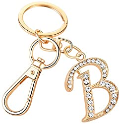 """Crystal Alphabet Initial Letter Pendant """"B"""" with Key Ring"""