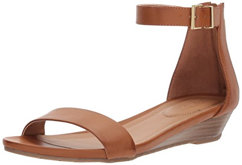 (Kenneth Cole REACTION Women's Viber 2 Piece Wedge Sandal, tan, 7.5 Medium US)
