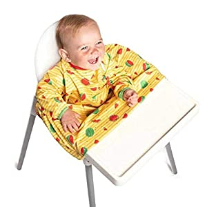 Weaning Bib – BIBaDO (Yellow) – The Award Winning Baby Feeding Coverall Smock, Attaches to Your highchair, Ideal for BLW…