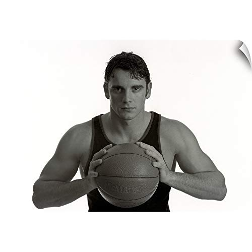 CANVAS ON DEMAND Portrait of Male Basketball Player Holding The Ball Wall Peel Art Print, 18