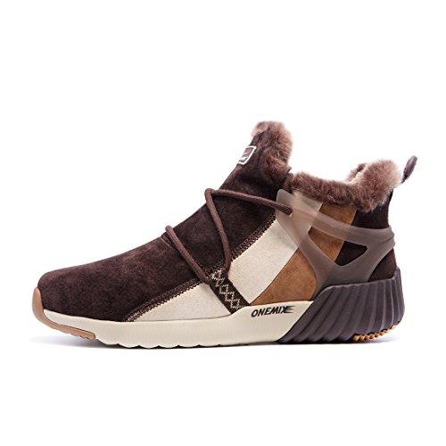 Onemix Donna Caldo Imbottito Corta Neve Stivali Sneaker Nero Stivali Scarpe Inverno Marrone Scuro / Kaki
