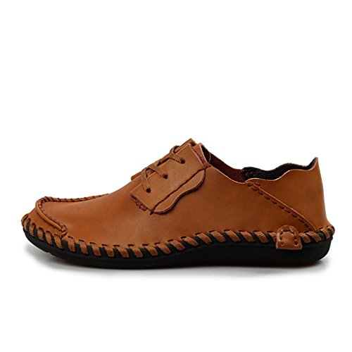 Zapatos De Conducción De Cuero Para Hombres Yuanli Zapatos De Moda Con Cordones Amarillos