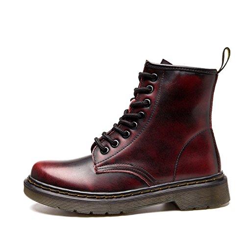 Ukstore bottines Bottes rouge Hiver Fourrure classiques Femme boots Doublure Lacets Fourrées Plates Impermeables 1 Botte homme Martin Cuir Chaudes Chaussures 101FxR