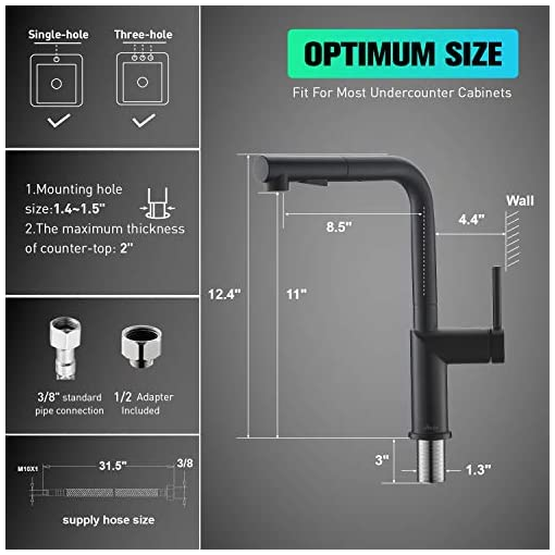 Kitchen APPASO Modern Kitchen Faucet with Pull-Out Multi-Flow Sprayer Matte Black – Single-Handle Kitchen Sink Faucet with… modern sink faucets