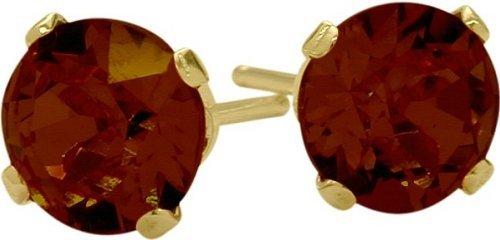 0.65Ct Genuine 4mm Round Garnet 14 Karat Yellow Gold Stud Earrings for Girls