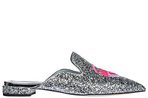 Chiara Ferragni Damen Badeschuhe Sandalen Pantolette Silber
