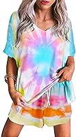 Sidefeel Women Tie Dye Printed Sleepwear Lounge Short Sleeve Pajama Set Night Shirt with Shorts