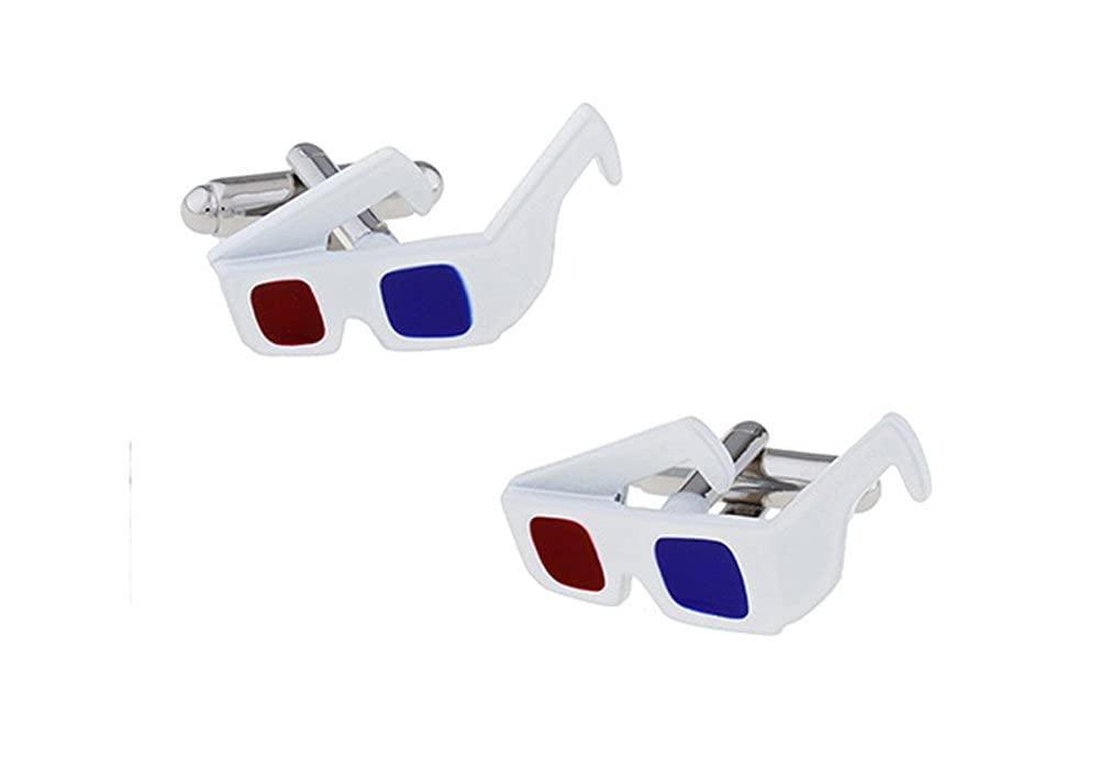 0c2e1e87ee2c Amazon.com  Anaglyph 3D Glasses Cufflinks Movie Theater Reto Cinema Cool  Shades Red Blue Cut Out Cuff Links  Jewelry