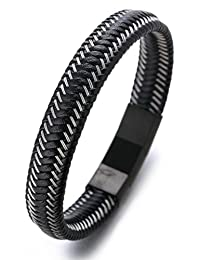 "Halukakah ""JAZZ"" Men's Genuine Leather Bracelet Titanium Magnetic Clasp Size Adjustable 8.2""-8.7""(21-22cm) with FREE Giftbox"