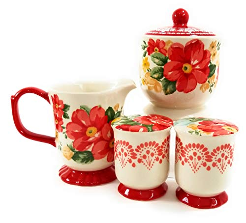 - The Pioneer Woman Vintage Floral 5 pc Sugar Bowl, Creamer, Salt and Pepper Set