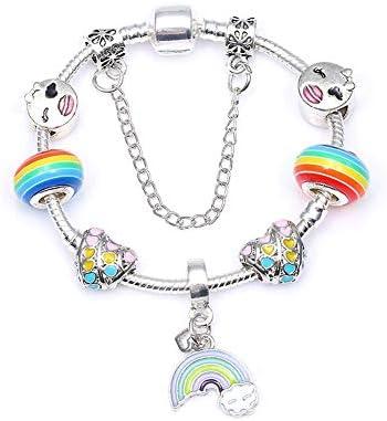 YUSM Charm Bracelet Rainbow Pendant Charm Bracelet Fashion Murano Glass Beads Bracelets for Women DIY Jewelry Pulserascharm Bracelets for Women Charm Bracelet Kit Mom Charm Bracelet