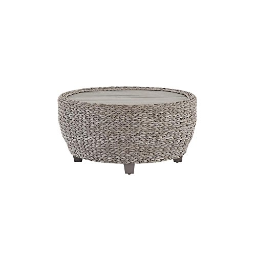 Hampton Bay Megan Grey All-Weather Wicker Patio 36 in. Large Round Coffee Table with Slatted Wood Top ()