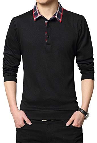 Lovelelify Mens Polo Shirts Casual Long Sleeve Plaid Slim Fit Shirt US S/Asian XL Black 3009