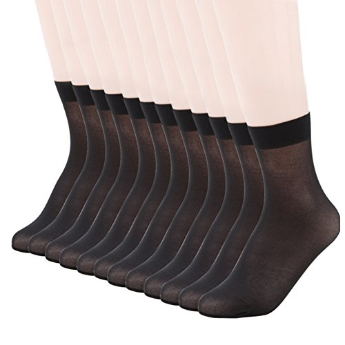 MANZI Women's 12 Pairs Nylon Ankle High Sheer Tights Hosiery Socks