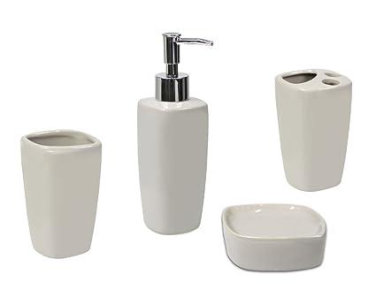 Set Da Bagno Moderno : Set accessori da bagno bianco grigio pezzi effetto marmo set
