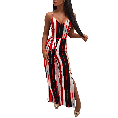 Dainzuy Rompers for Women Casual Summer V Neck Sleeveless Bow Knot Multicolor Stripe Jumpsuits Playsuits