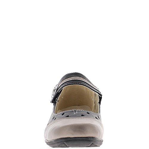 Schuhe Damen schwarz und Bronze Komfort luftig Ferse 3,5 cm