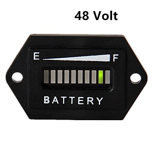 AIMILAR Golf Cart Battery Meter Battery Charge Discharge Status Indicator Gauge for Lead-Acid Battery Club Car 48V (48V)