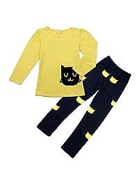 Orangeskycn New Kids Girl Long Sleeve Cartoon Cat Shirt Pant Suit
