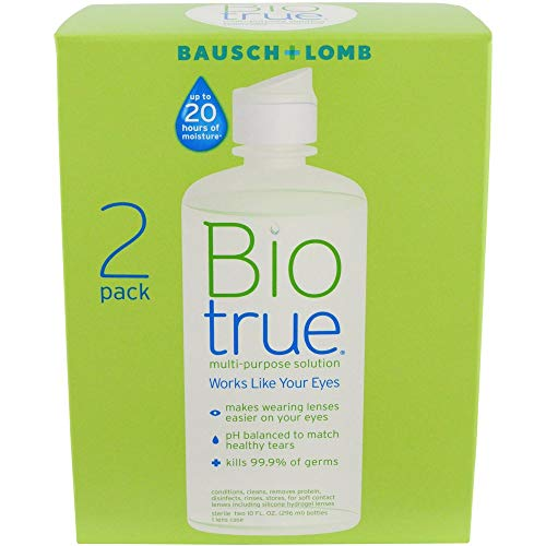 Bausch and Lomb BioTrue Soft Contact Lense & Silicone Hydrogel Lense Moisturizing Solution 10 oz, 2 Twin ()