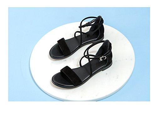 Sandalias Ocasionales Moda Altos 37 de Negro Tacones Zapatillas Verano de bajo Mujer Planas de Sandalias DHG de Sólido Color de Dulces Tacón Punta Sandalias de PAwpw
