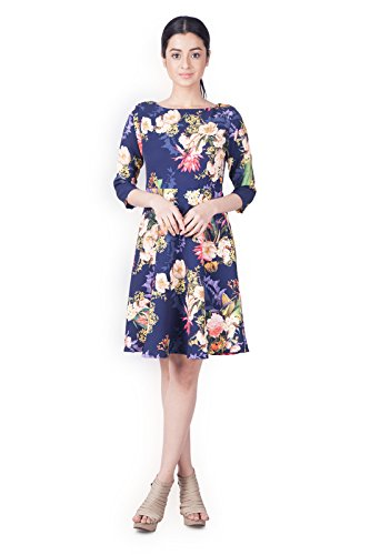 Zink London Blue Floral Printed Skater Dress for Women  Amazon.in ... ed4eed091
