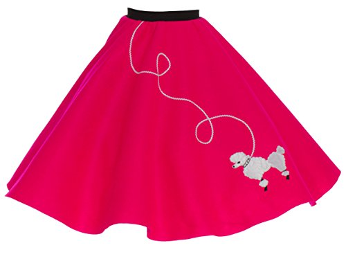 [Hip Hop 50s Shop Adult Poodle Skirt Shocking Pink XL/2X] (Greaser Outfit)