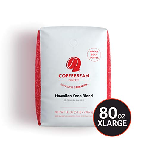 Coffee Bean Direct Hawaiian Kona Blend Coffee, Light Roast, Whole Bean, 5 Pound