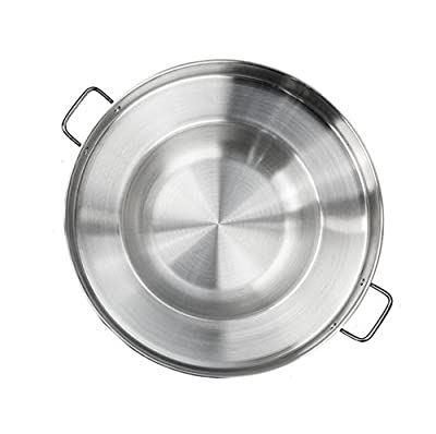 "HPWHome - 23"" Round Concave Comal Pan - High Quaity Stainless Steel Material - Perfect For Outdoor Cooking - Concave Surface - Designed For Outside Use With Portable Gas Stove"