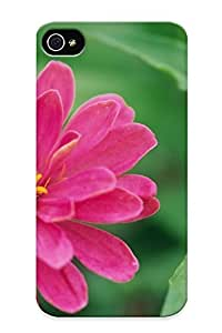 Iphone 4/4s Case Cover - Slim Fit Tpu Protector Shock Absorbent Case (pink Zinnia )
