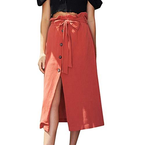 Cotton Linen Skirts for Women, Ruffle Waisted Front Slit Button Decor Belt Summer Skirts School Beach Skirt with Pockets(Red, XL)