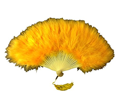 Feather Hand Fan for Costume Party Dance Lot of 5 (Yellow Gold/Orange) -