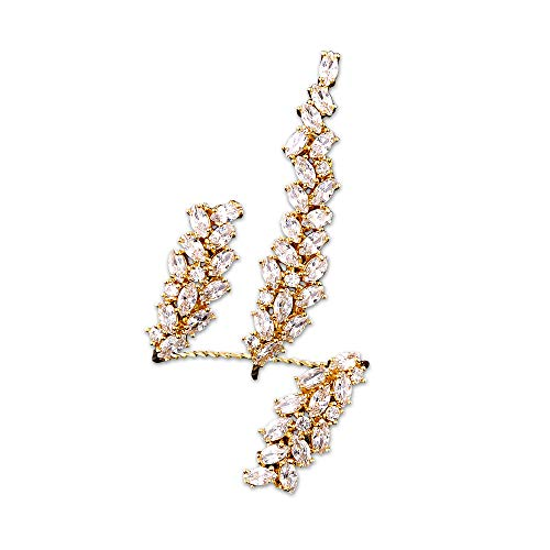dnswez Unique Cubic Zirconia CZ Cluster Multiple 2 Finger Rings Palm Cuff Hand Jewelry for Women Adjustable Size (Yellow)