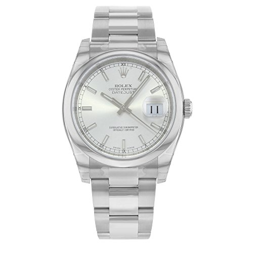 Rolex Datejust 36 Silver Index Dial Steel Mens Watch 116200