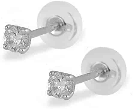 18K White Or Yellow Gold 0.20 Carat Diamond Silicone Back Earrings For Girls Of All Ages