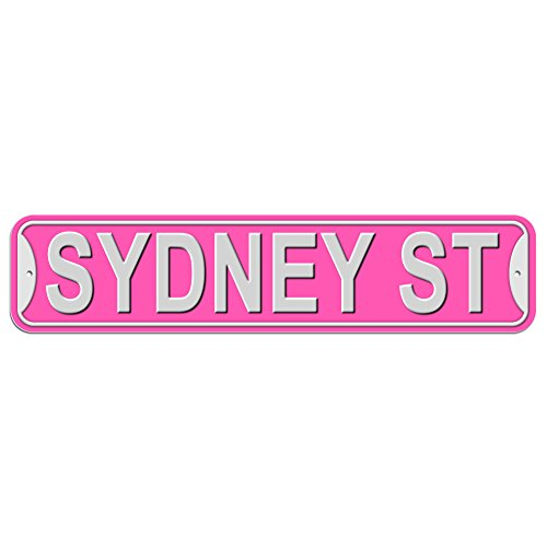 Sydney St Street Sign - Plastic Wall Door Street Road Male Name - Pink
