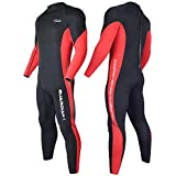 Hevto Wetsuits Men and Women 3mm Neoprene Scuba Diving Full Suits Surfing Glued and Blind Stitched Back Zip for Water Sports