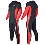 Hevto Wetsuits Youth Men 3mm Neoprene Full Scuba Diving Suits Surfing Swimming Long Sleeve Keep Warm Back Zip for Water Sports (Red Men, XS)