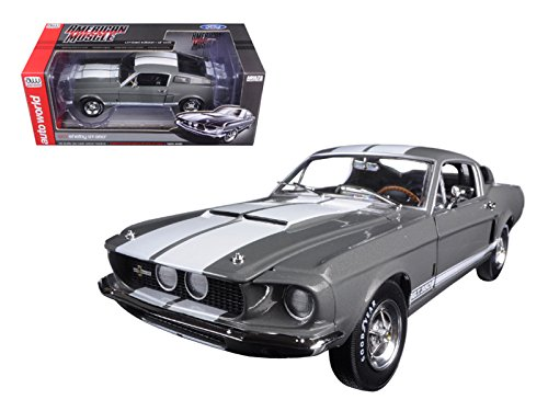 Autoworld AMM1060 1967 Ford Shelby Mustang GT-350 Medium Gray Metallic 50th Anniversary Limited Edition to 1002pc 1/18 Diecast Model Car