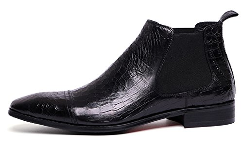 RAINSTAR Men's Crocodile Grain Chelsea Boot Casual Dress Slip On Ankle Boots Black 9 by RAINSTAR (Image #6)
