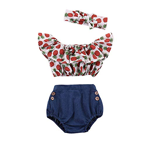 Cute Baby Girl Outfits Infant Ruffle Clothes Set 3PCS Red Pineapple Off Shoulder Tops+ Denim Shorts+ Bowknot Hairband Set for Summer 12-18months