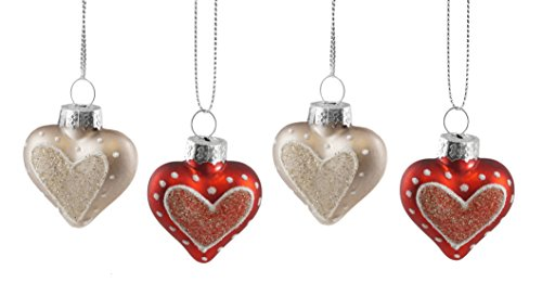 (Creative Co-op Glittery Love Heart Hanging Valentines Ornament Set of)