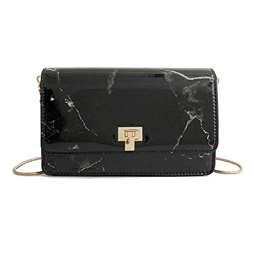PU Bag Marbling Leather White Body Bags Casual Black Shoulder Alexis Fashion Messenger Metal Womens Chain Travel Cross XqFwFE