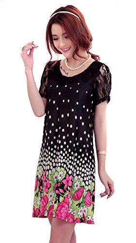 SiikWorld Women's Lace Short Sleeves Dress 107-1