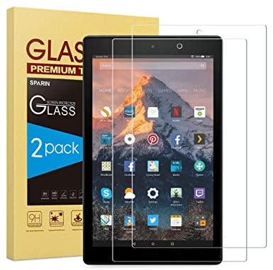 [2-Pack] Screen Protector Compatible with Fire HD 10, SPARIN Tempered Glass Compatible with All-New Fire HD 10 (ninth / seventh, 2019/2017 Released) / Fire HD 10 Kids Edition