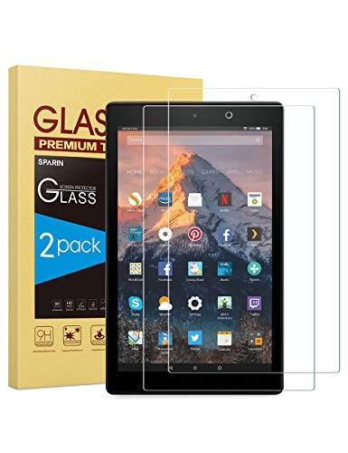 [2-Pack] Screen Protector Compatible with Fire HD 10, SPARIN Tempered Glass Compatible with Fire HD 10 (9th / 7th, 2019/2017 Released) / Fire HD 10 Kids Edition